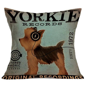 Pillow Case with Vintage Style Yorkie Image