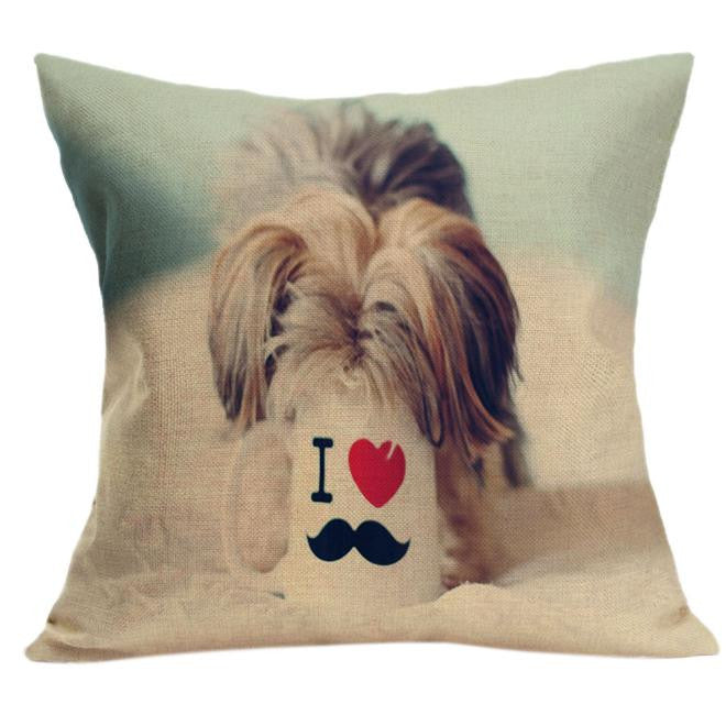 Yorkie And Mug Pillow Case Cushion Cover