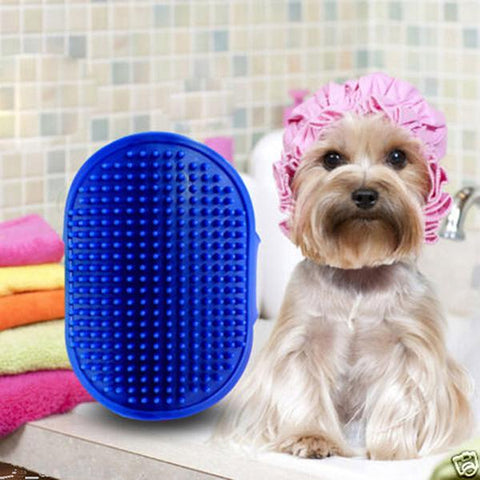 Oval dog brush with adjustable straps