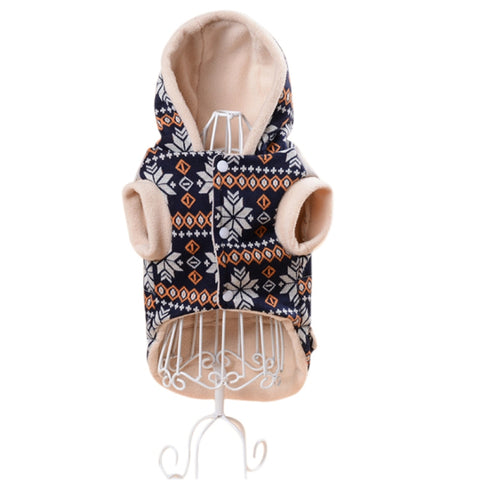 Patterned Hoodie Style Coat for Small Dogs