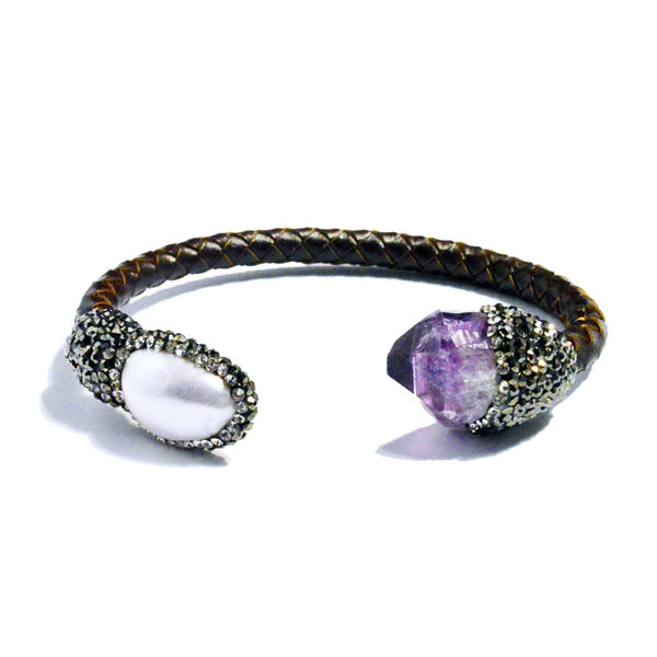 Amethyst & Pearl Leather Cuff Bracelet