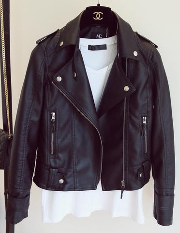 Classic Black Rivet Leather Moto Jacket