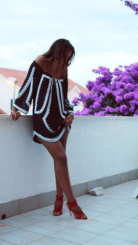 Black & White Flare Mini Dress