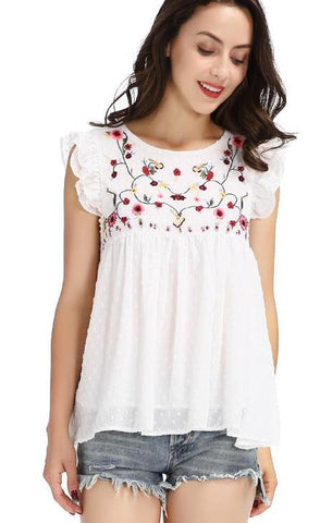 Simply Chic Embroidered Floral Summer Blouses | in White & Black