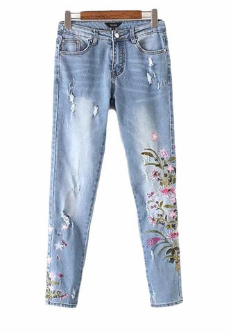 Floral Embroidered Distressed Denim Jeans