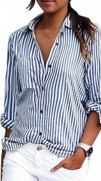 Essentials Collection- Button Down Striped Long Sleeve Blouse