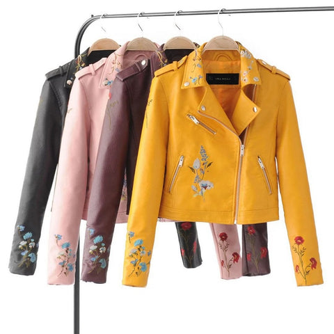 Floral Embroidered Fall Leather Jackets
