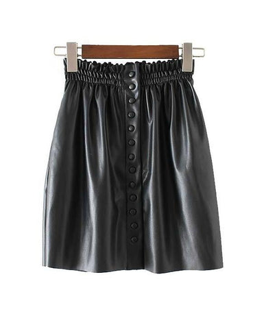 Faux Leather High Waist Button Down Mini Skirt