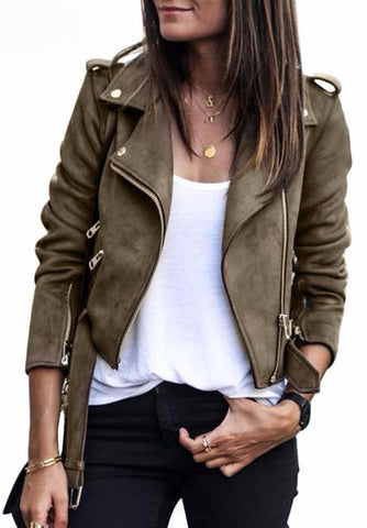 Zippered Suede Motorcycle Jacket in Coffee