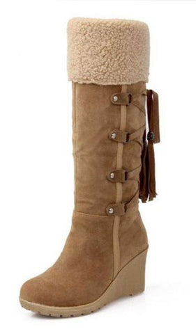 Plush Lined Suede Wedge Snow Boots