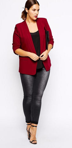 Plus Size Fashion Fall Blazer- Black & Red