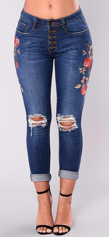 Embroidered Button Up Floral Cropped Jeans