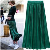 Glam  Shimmer Pleated Midi Skirts