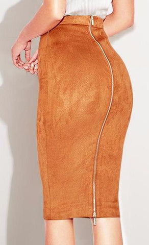 High Waist Zippered Autumn Suede Midi Skirt