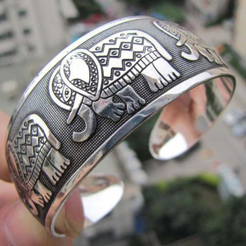 Tibetan Elephant Retro Cuff Wide Bangle