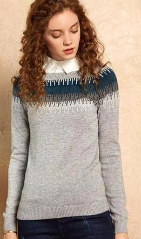 White Winter Knitted Sweater with Detachable Collar Detail