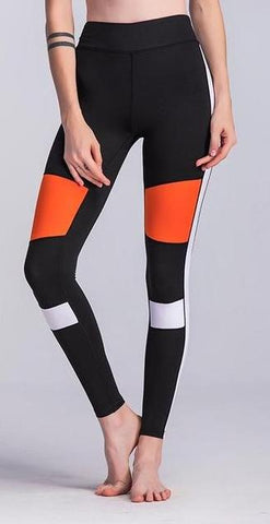 Orange & Black Color-block Sport Leggings