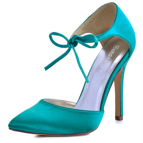 Elegant Satin Ankle Strap Stiletto Heels