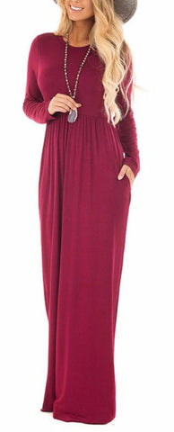 Simple Elegance Tunic Maxi Dress in Wine, Army Green, Black & Gray