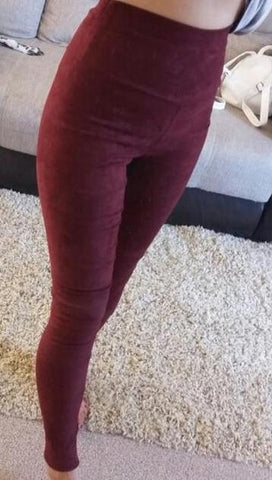 New Winter Suede Style High Waist Leggings