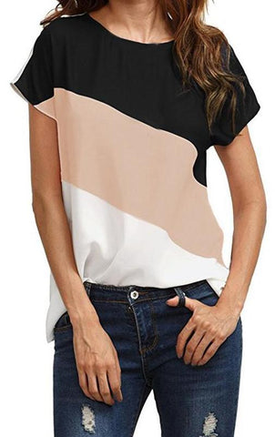 Color Block Chiffon Short Sleeve Blouses