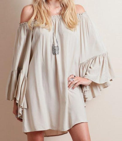 Butterfly Sleeve Cold Shoulder Tunic Dress | 2018