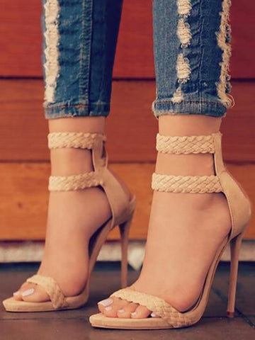 Braided Ankle Cuff Stilettos in Nude & Black | Women's Shoes