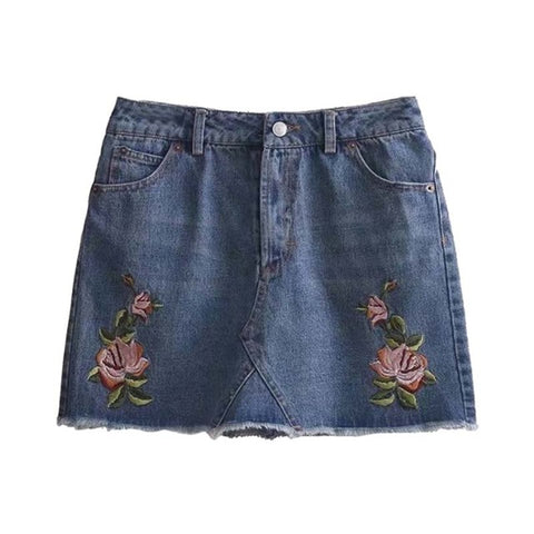 Mary Jane Embroidered Denim Mini Skirt