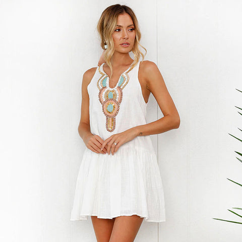 Bohemian Style White Summer Dress
