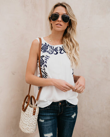 White Embroidered Sleeveless Summer Top