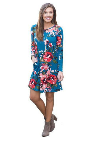 Cute & Casual Floral Dress with Pockets