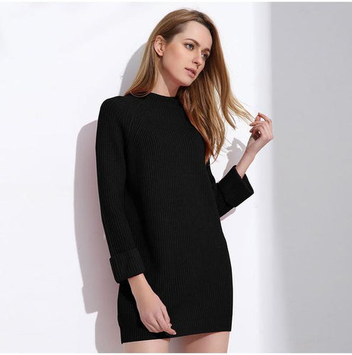 Long Above Knee Pullover Sweater Dress