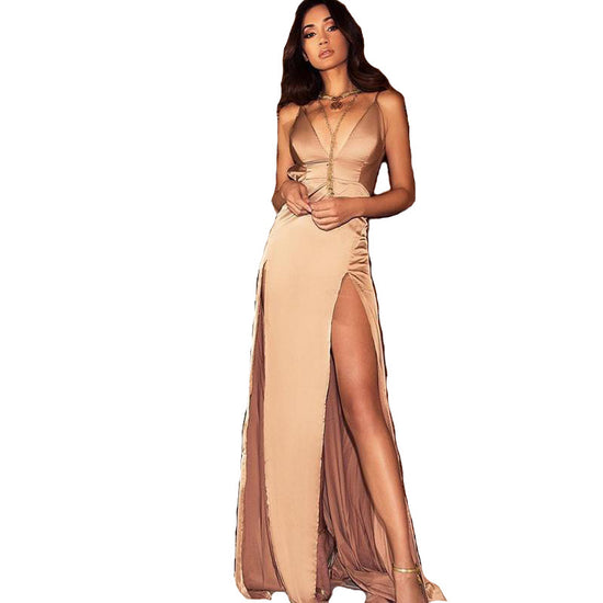 Double Side Split Maxi Dress - Nude