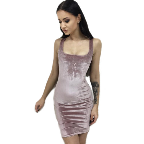 Pink Velvet Bodycon Mini Dress