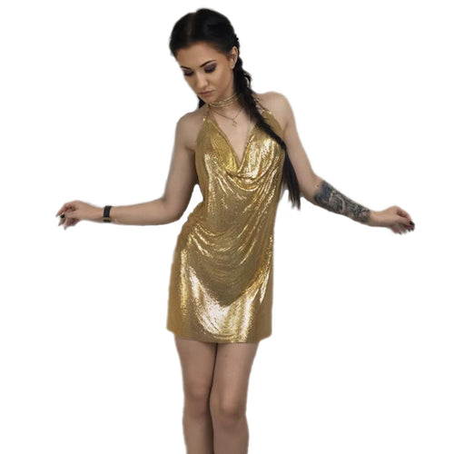 Sequins Spaghetti Strap Party Dress - Gold