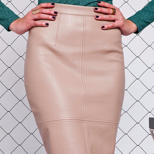 PU Leather Midi Skirt - 4 Colors