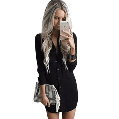Vintage Style Long Sleeved Casual Shirt Dress