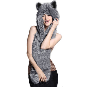Warm Winter Animal Ears Hat & Scarf Set