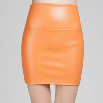 Stretch-Fit PU Leather Pencil Skirt - 22 Candy Colors