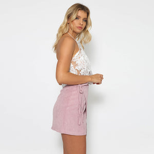 Lace Sleeveless Halter Crop Top