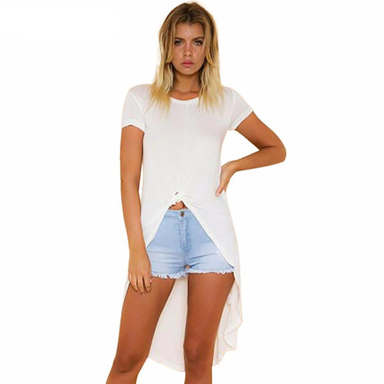 Mona Short Sleeve Front Crop Cape Tee