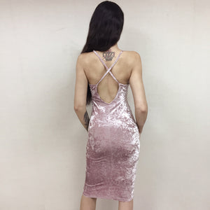 Velvet Bodycon Midi Dress - Pink
