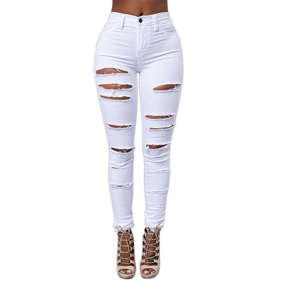 High Waist Front Rip Skinny Jean - White