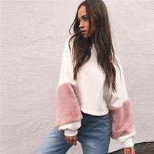Misfit - Faux Fur Long Sleeved Sweater - White & Pink
