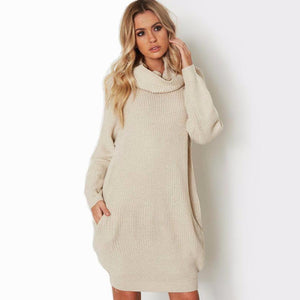 Turtleneck Sweater Dress With Pockets - 2 Colors