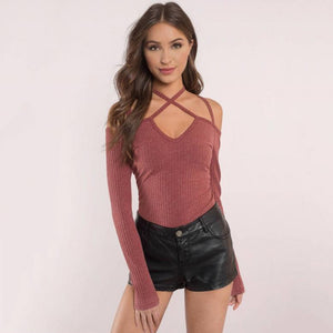 Vola Long Sleeve Lace Up Halter -  2 Colors