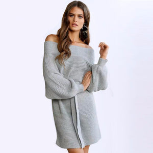 Loose Off Shoulder Sweater Dress - Gray