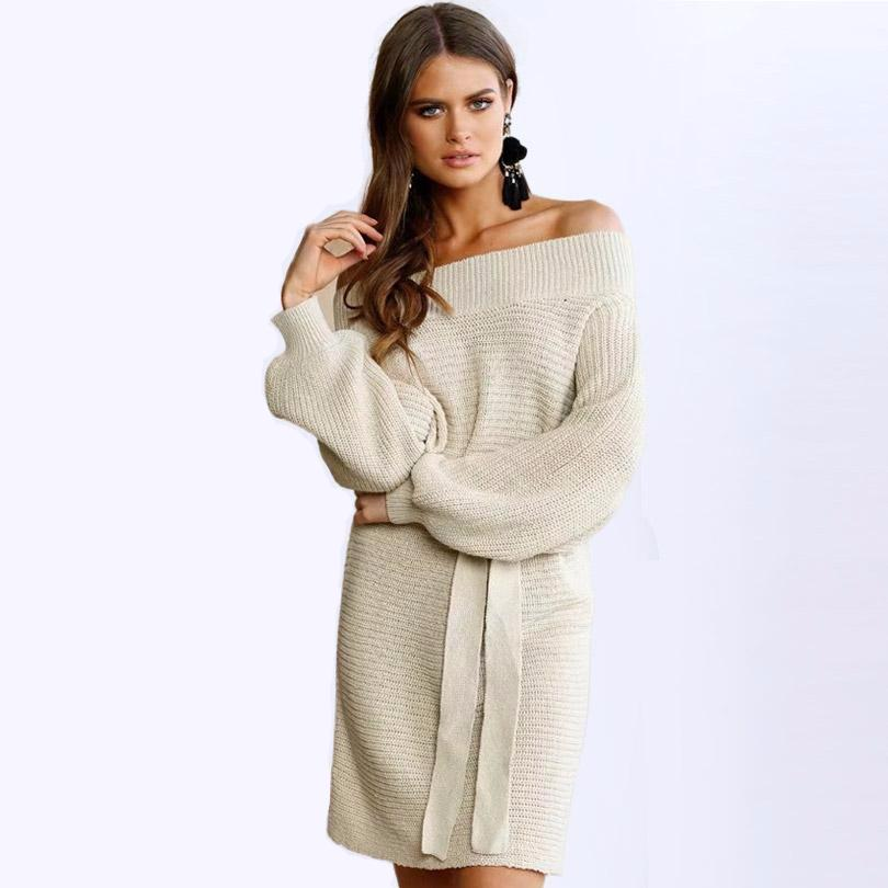 Loose Off Shoulder Sweater Dress - Beige