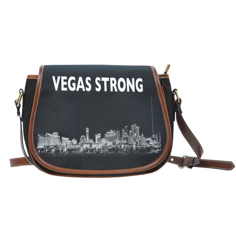 Vegas Strong Leather Trimmed Saddle Bag