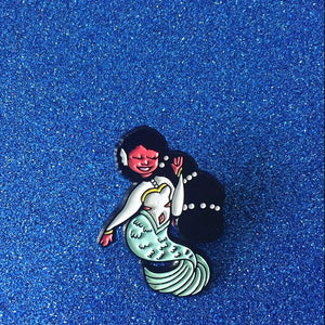 Black Curvy Royalty Mermaid Enamel Pin